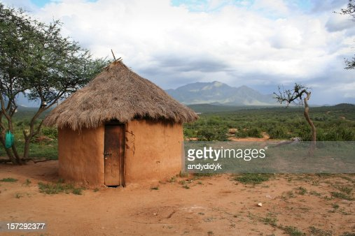 A hut made out of mud in Africa