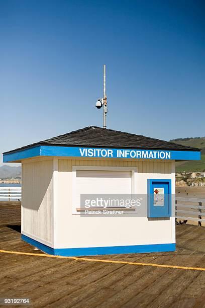 A VISITOR INFORMATION hut on a pier, Pismo Beach, California, USA