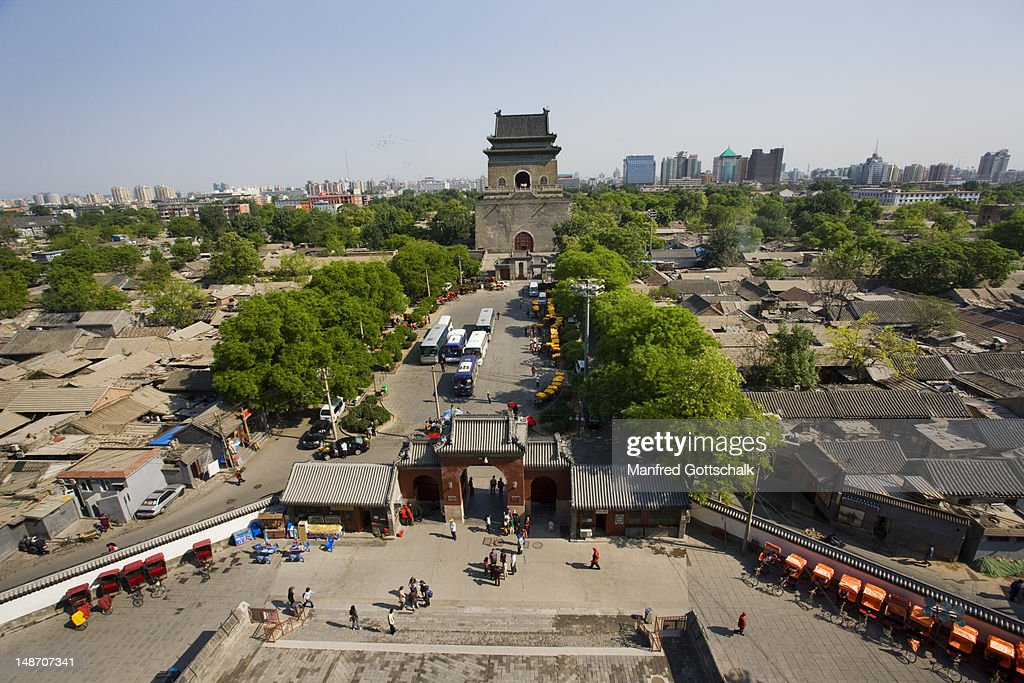 Hutong roofs and Bell Tower of Beijing from Drum Tower.