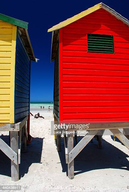 Huts At Beach Against Clear Sky