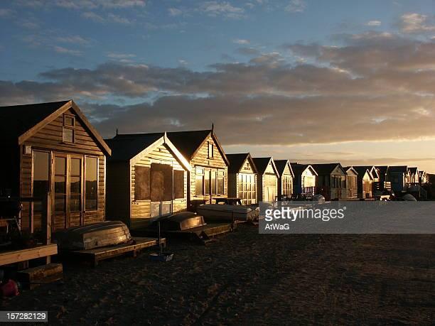 Huts at dusk