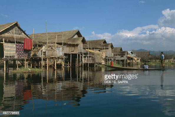 Huts on stilts on Lake Inle Shan Myanmar