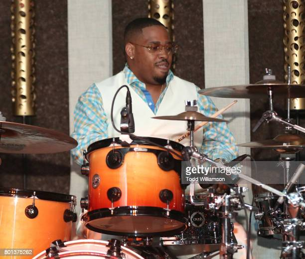 T Hutton plays drums at a Love Music Funk Jam hosted by Kat Graham at The Peppermint Club on June 25 2017 in Los Angeles California