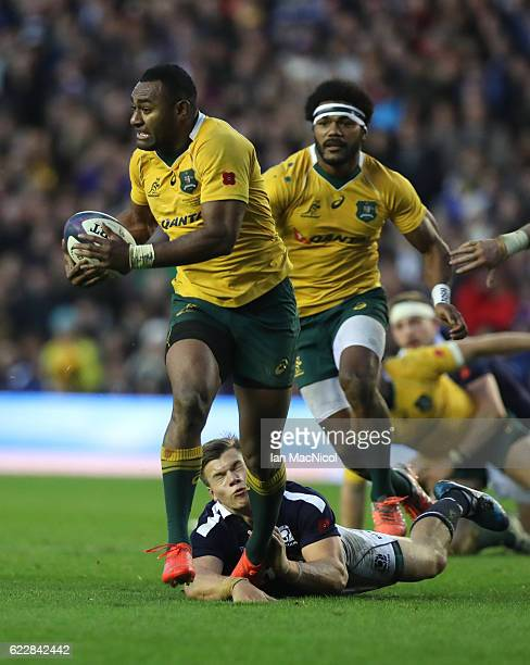 Huw Jones of Scotland tries to stopTevita Kuridrani of Australia as he runs through to score a try during the Scotland v Australia Autumn Test Match...