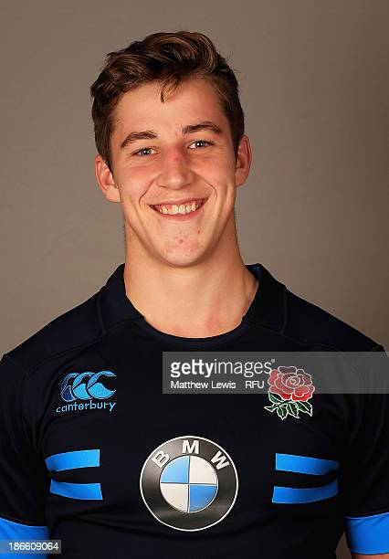 Huw Taylor of England U18's poses for a portrait during an England Rugby Union U18's Headshot session at Loughborough University on November 1 2013...