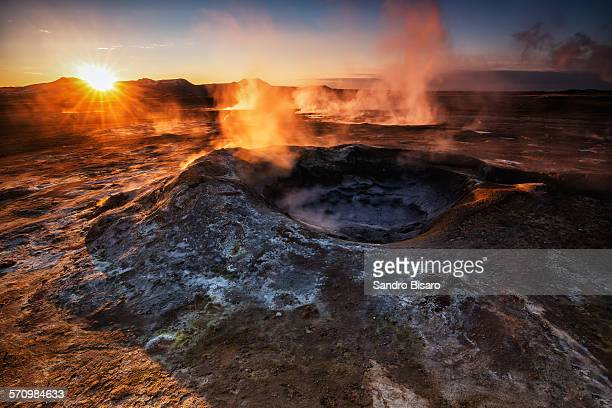 Hverir Geothermal field at sunrise