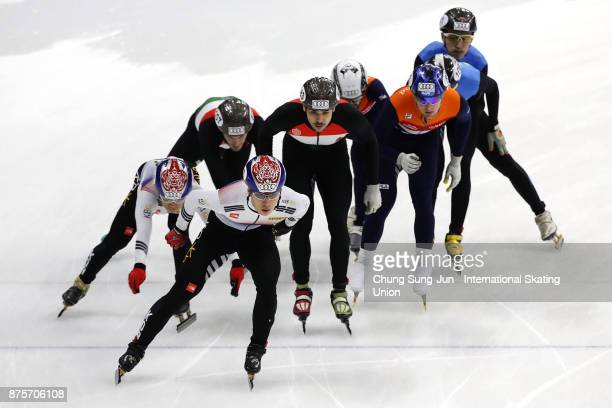 Hwang DaeHeon and Kwak YoonGy of South Korea Alex Varnyu and Csaba Burjan of Hungary Mark Prinsen and Itzhak de Laat of Netherlands compete in the...