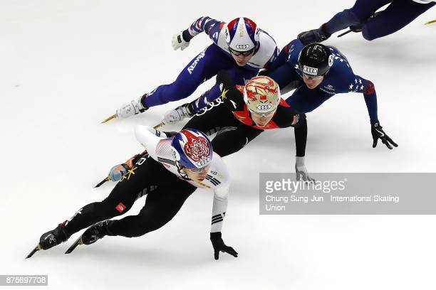 Hwang DaeHeon of South Korea Tianyu Han of China and JR Celski of United States compete in the Men 1500m Semifinals during the Audi ISU World Cup...