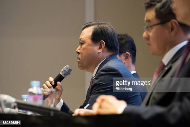 Hwang Kaggyu cheif executive officer of Lotte Corp center speaks during a news conference in Seoul South Korea on Thursday Oct 12 2017 Lotte Group...