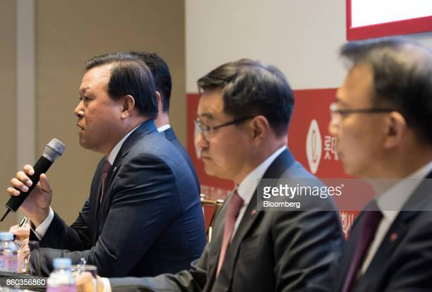 Hwang Kaggyu cheif executive officer of Lotte Corp left speaks during a news conference in Seoul South Korea on Thursday Oct 12 2017 Lotte Group...