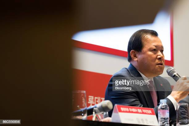Hwang Kaggyu cheif executive officer of Lotte Corp speaks during a news conference in Seoul South Korea on Thursday Oct 12 2017 Lotte Group chairman...