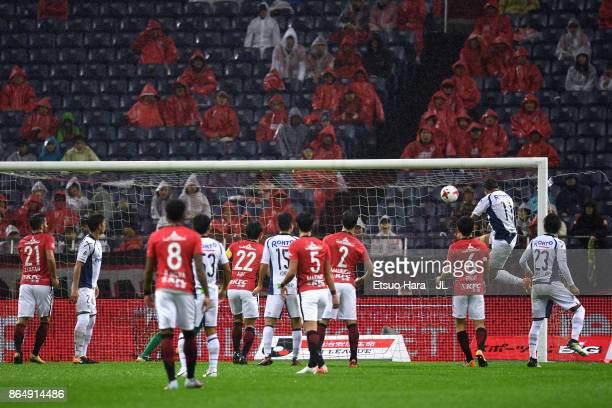 Hwang Ui Jo of Gamba Osaka heads to score his side's first goal during the JLeague J1 match between Urawa Red Diamonds and Gamba Osaka at Saitama...