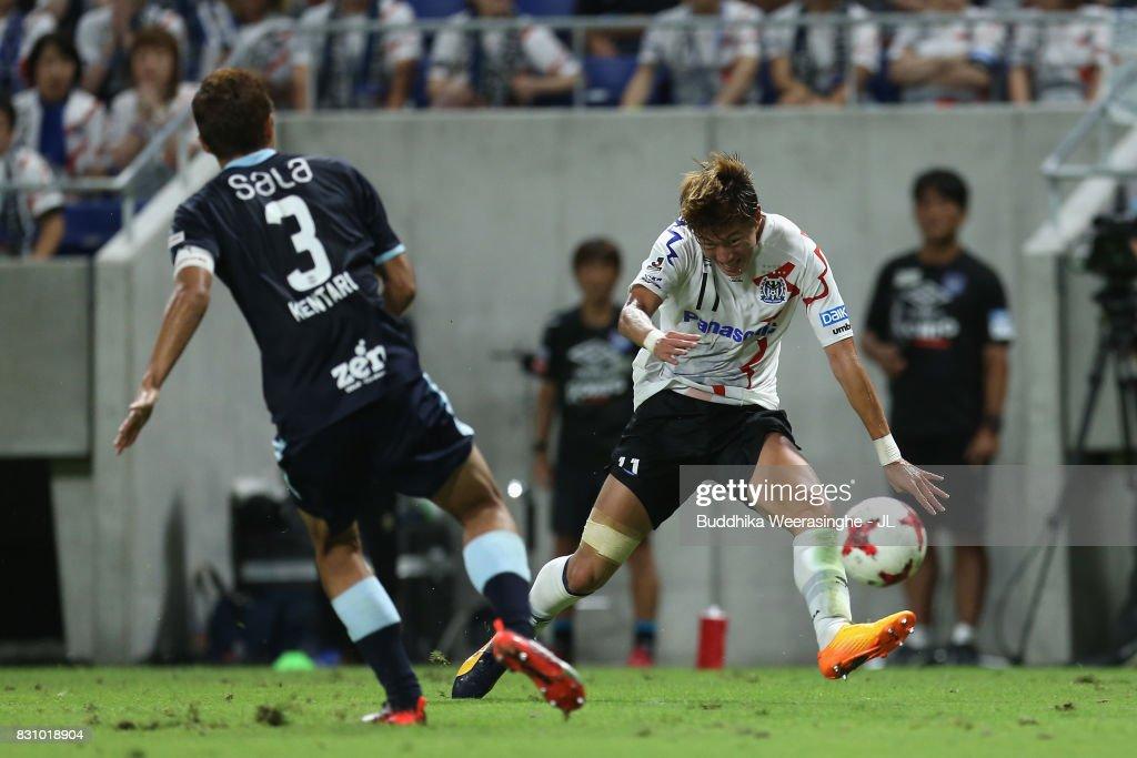 Hwang Ui Jo of Gamba Osaka in action during the J.League J1 match between Gamba Osaka and Jubilo Iwata at Suita City Football Stadium on August 13, 2017 in Suita, Osaka, Japan.