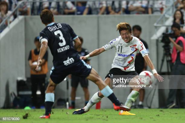 Hwang Ui Jo of Gamba Osaka in action during the JLeague J1 match between Gamba Osaka and Jubilo Iwata at Suita City Football Stadium on August 13...