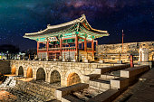 Hwaseong Fortressand Milky Way Galaxy in Seoul, South Korea.