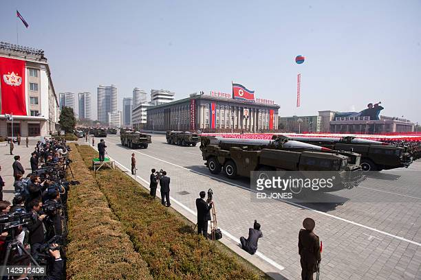 Hwasong missiles are displayed during a military parade in honour of the 100th birthday of the late North Korean leader Kim IlSung in Pyongyang on...
