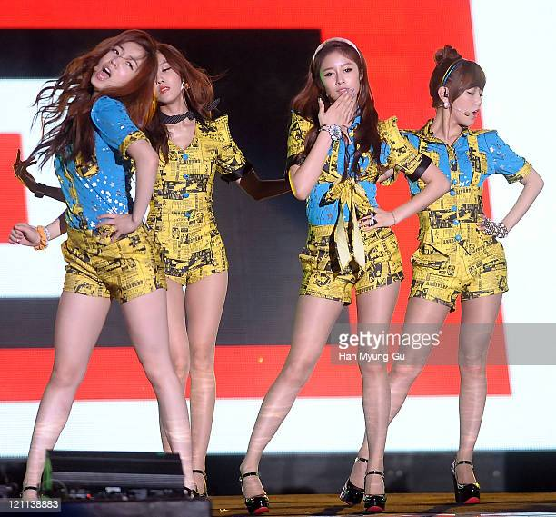 HwaYoung HyoMin JiYeon and SoYeon of Tara perform onstage during the Incheon Korean Wave Festival 2011 at Incheon World Cup Stadium on August 13 2011...