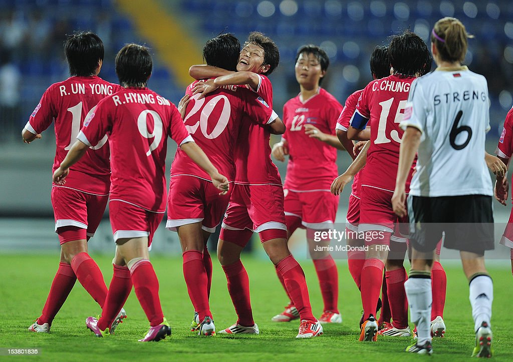 Hyang So Kim of Korea DPR celebrates her goal during the FIFA U-17 Women's World Cup 2012 Semi-Final match between Korea DPR and Germany at the 8KM Stadium on October 9, 2012 in Baku, Azerbaijan.