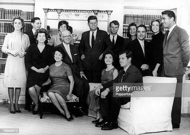Hyannis Port Massachusetts USA September The Kennedy Family gather for a group photograph at the family home in Hyannis port shortly after John F...