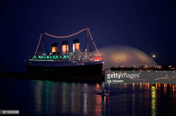 Hyatt Hotel Queen Mary and Geodesic Dome Lit at Night