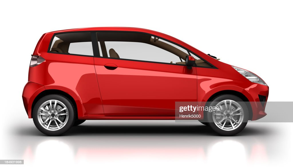 Hybrid car in studio - isolated with clipping path : Stock Photo