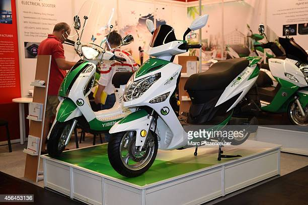 Hybrid scooter rate gasline YB150T15H is displayed at the 2014 Intermot motorcycle trade fair on October 01 2014 in Cologne Germany Intermot is the...