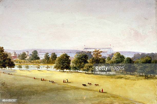 Hyde Park Westminster London 1851 View of Hyde Park showing the Crystal Palace the great glasshouse built by Joseph Paxton to house the Great...