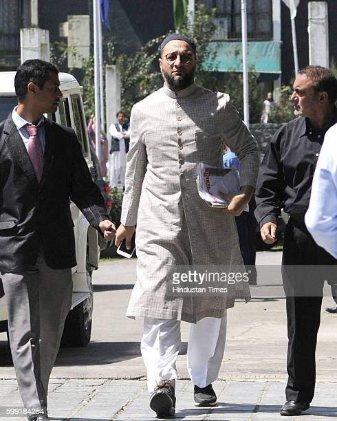 Hyderbabad MP Asaduddin Owaisi arrives for allparty delegation meeting at SheriKashmir International Conference Centre on September 4 2016 in...