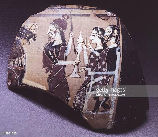 Hydra fragment representing a royal couple receiving heralds blackfigure pottery Greece Greek Civilization 6th Century BC Athens Ethnikó Arheologikó...