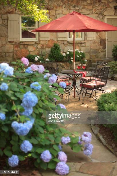 Hydrangeas surrounding patio with table and wine