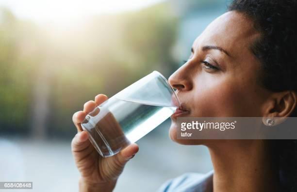Hydration is her beauty secret