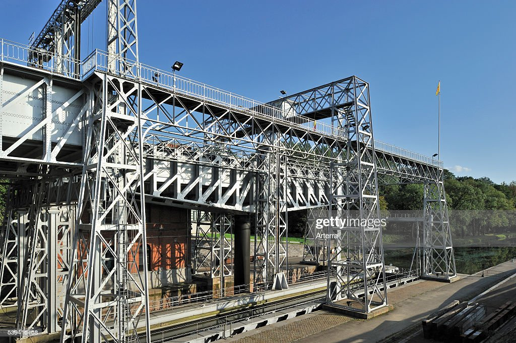 Hydraulic boat lift on the old Canal du Centre at HoudengGoegnies near La Louviere in the Sillon industriel of Wallonia Belgium