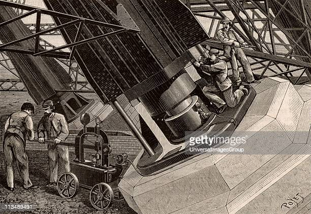 Hydraulic jack being used to adjust the mountings of the Eiffel Tower Paris France Engraving from La Nature