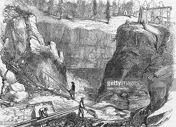 Hydraulic mining at French Corral the first historic mining camp to appear along the San Juan Ridge during the California Gold Rush era circa 1849