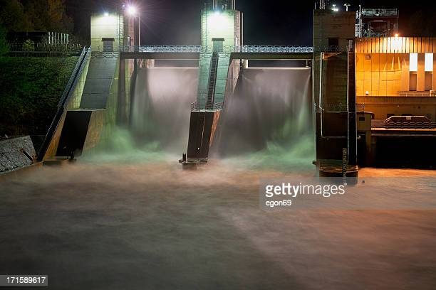 Hydroelectric Dam at Night