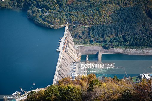 Hydroelectric power plant on river : Stock Photo