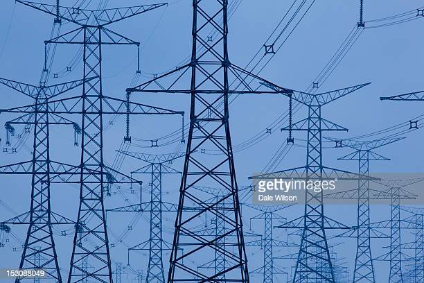 Hydroelectricity transmission lines and towers