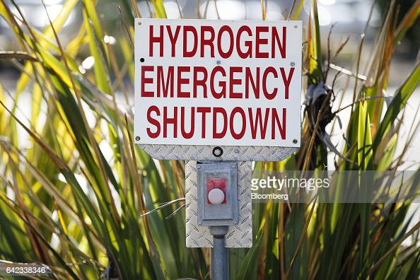 Hydrogen emergency shutdown safety signage is displayed at the UC Irvine Hydrogen Fueling Station operated by the National Fuel Cell Research Center...