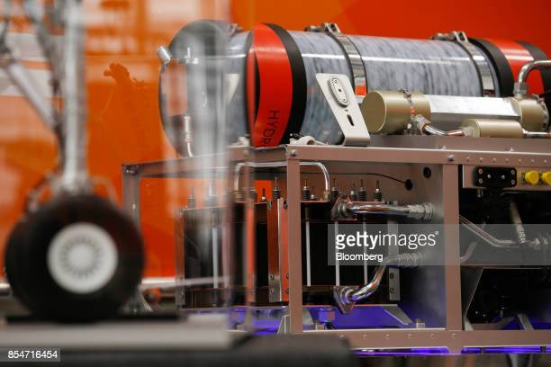 A hydrogen fuel cell developed in conjunction with Safran SA to power taxiing aircraft sits on display during the EasyJet Plc annual innovation day...