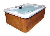Modern hydromassage hottub isolated with clipping path included