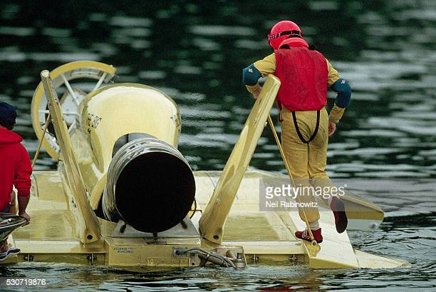 Hydroplane Driver Standing on Deck