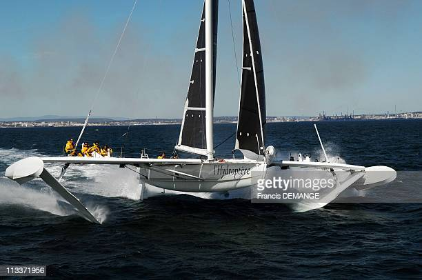 Hydroptere Faster Than Storm Poseidon'S Mirage In Marseille France On August 08 2008 After 8 monthes of a long preparation of its new shape Alain...