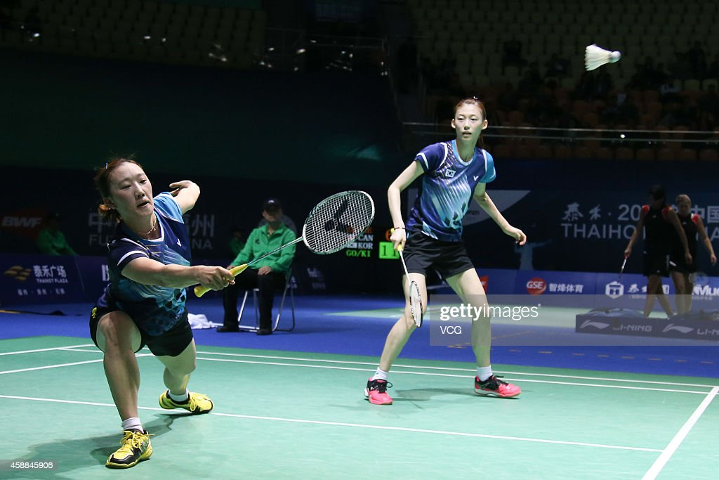 Hye In Choi (L) and Ha Na Kim of South Korea in action against Xia Huan and Zhong Qianxin of China in the Women's Double match on day two of the BWF 2014 Thaihot China Open at Haixia Olympic Sport Center on November 12, 2014 in Fuzhou, Fujian province of China.