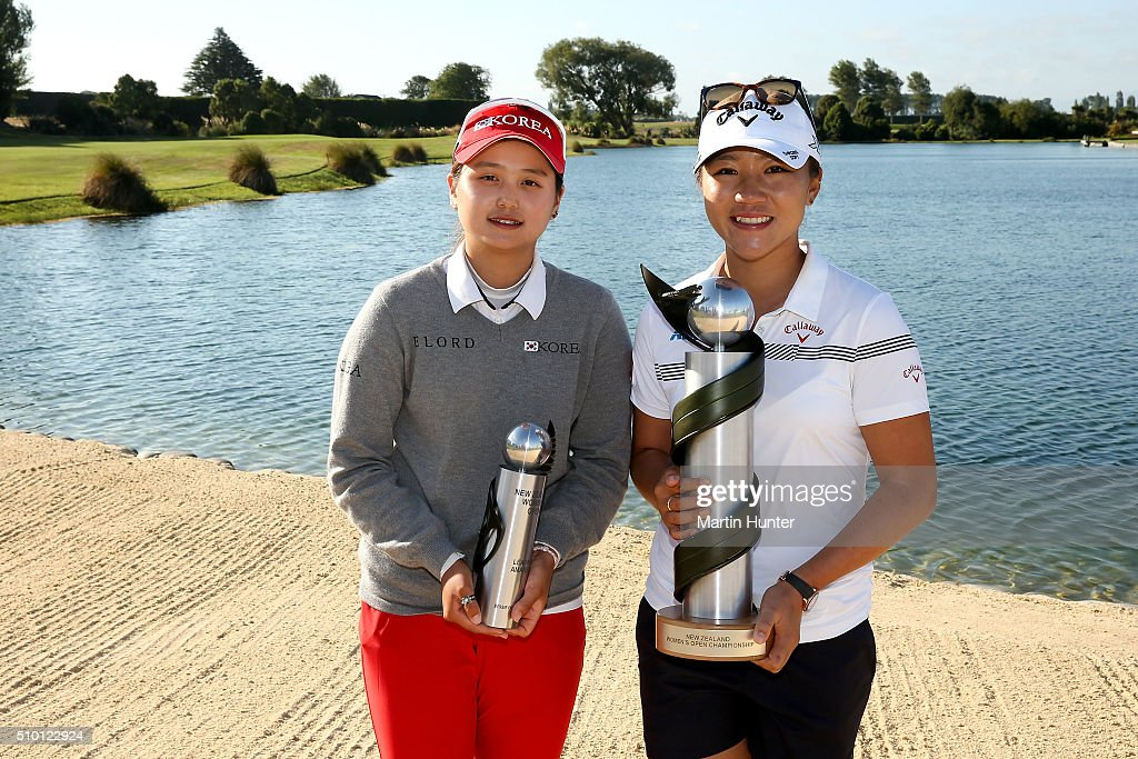 Hye Jin Choi (L) of Korea winner of the amateur trophy and Lydia Ko (R) of New Zealand winner of the New Zealand Women's Open at Clearwater Golf Club on February 14, 2016 in Christchurch, New Zealand.