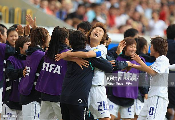 Hye Ri Kim of South Korea celebrates the 2nd goal during the 2010 FIFA Women's World Cup Quarter Final match between Mexico and South Korea at the...