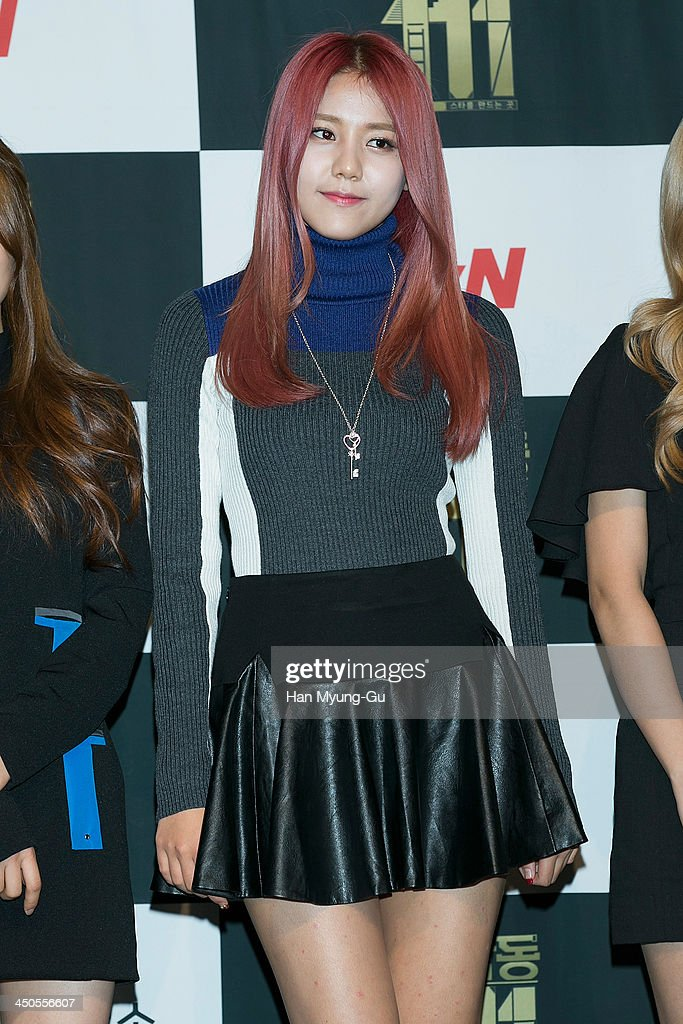 Hyejeong of South Korean girl group AOA (Ace of Angels) attends tvN Drama 'Cheongdamdong 111' press conference at CGV on November 18, 2013 in Seoul, South Korea. The drama will open on November 21, in South Korea.