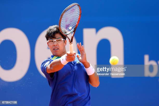 Hyeon Chang of Korea plays the ball at his first round match against Maximilian Marterer of Germany during the 102 BMW Open by FWU at Iphitos tennis...