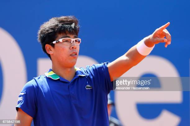 Hyeon Chang of Korea reacts at his first round match against Maximilian Marterer of Germany during the 102 BMW Open by FWU at Iphitos tennis club on...