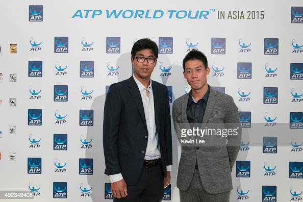 Hyeon Chung and Kei Nishikori pose for a picture at ATP World Tour in Asia 2015 on October 12 2015 in Shanghai China