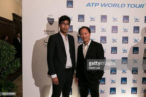 Hyeon Chung and Michael Chang pose for a picture at ATP World Tour in Asia 2015 on October 12 2015 in Shanghai China